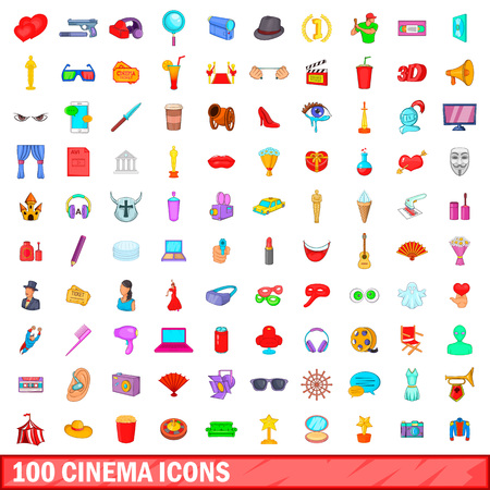 100 cinema icons set in cartoon style for any design illustration