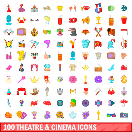 100 theatre and cinema icons set in cartoon style for any design illustration