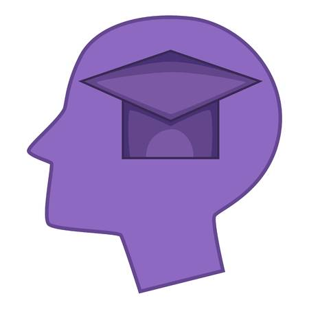 Graduation cap inside human head icon. Cartoon illustration of graduation cap inside human head icon for web