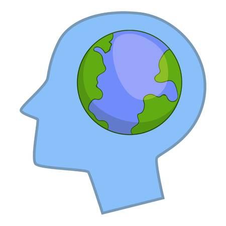 Globe in human head icon. Cartoon illustration of globe in human head icon for web