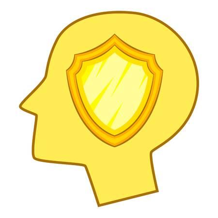 Shield inside human head icon. Cartoon illustration of shield inside human head icon for web Stock fotó