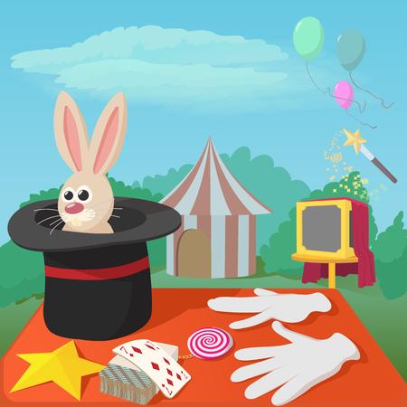 Magician tools concept. Cartoon illustration of magician tools concept for web Stock Photo