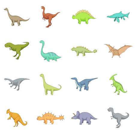 Different dinosaurs icons set. Cartoon illustration of 16 different dinosaurs icons for web