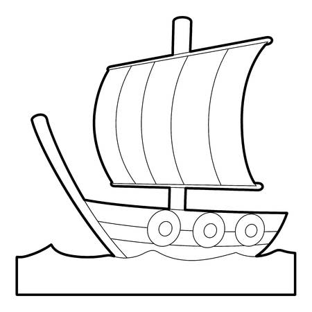 Sailing ship icon. Outline illustration of sailing ship icon for web