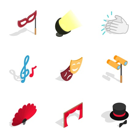 Theater performance icons set. Isometric 3d illustration of 9 theater performance icons for web