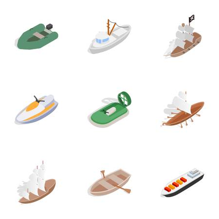Sea transport icons set. Isometric 3d illustration of 9 sea transport icons for web Stock Photo