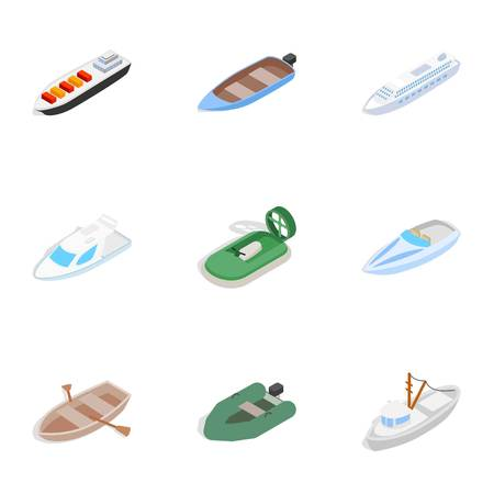 Ship and boat icons set. Isometric 3d illustration of 9 ship and boat icons for web Stock Photo