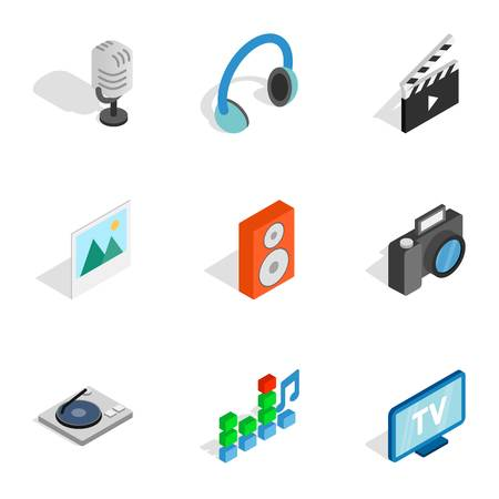 Computer technology icons, isometric 3d style Stok Fotoğraf