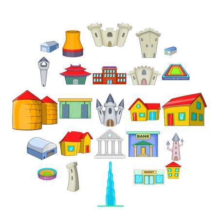 Formation icons set, cartoon style