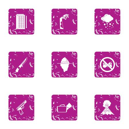 Harassment icons set. Grunge set of 9 harassment vector icons for web isolated on white background