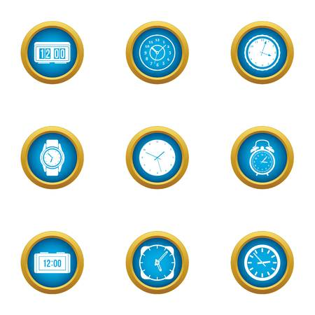Duration icons set. Flat set of 9 duration vector icons for web isolated on white background Vectores