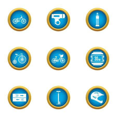 Bicycle path icons set. Flat set of 9 bicycle path vector icons for web isolated on white background 矢量图像