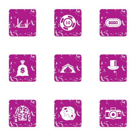 Speculate house icons set. Grunge set of 9 speculate house vector icons for web isolated on white background