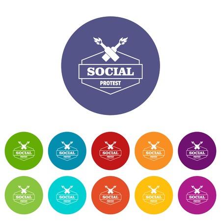 Social protest molotov cocktail icons set vector color Illustration