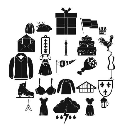 Lightweight clothing icons set. Simple set of 25 lightweight clothing vector icons for web isolated on white background Vectores