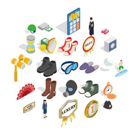 Clothing accessories icons set. Isometric set of 25 clothing accessories vector icons for web isolated on white background