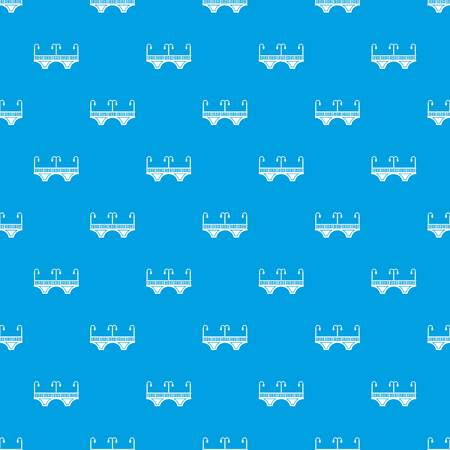 Retro arch bridge pattern vector seamless blue repeat for any use