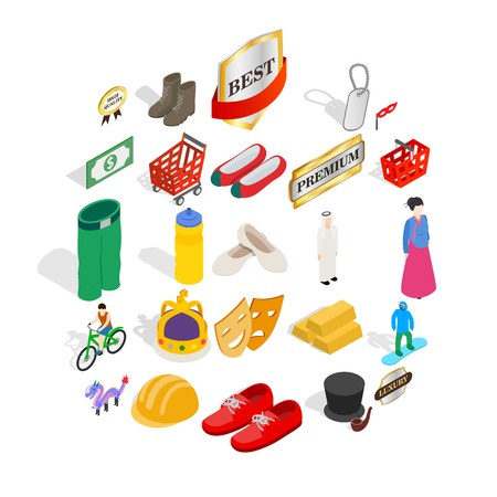 Own icons set. Isometric set of 25 own vector icons for web isolated on white background