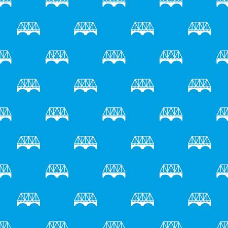 Railway arch bridge pattern vector seamless blue repeat for any use