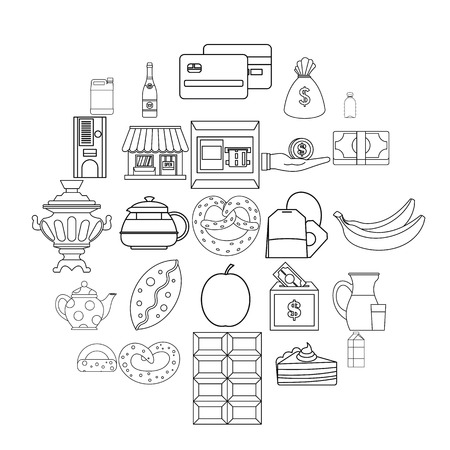 Street cafe icons set. Outline set of 25 street cafe vector icons for web isolated on white background