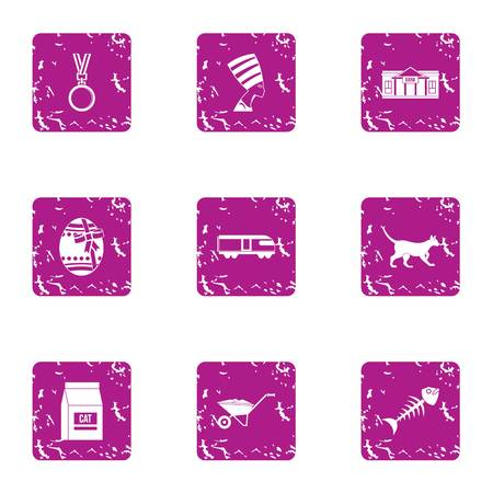 Pussycat icons set. Grunge set of 9 pussycat vector icons for web isolated on white background