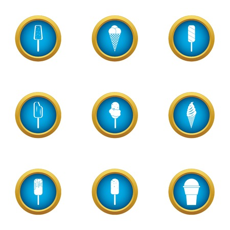 Frozen cream icons set. Flat set of 9 frozen cream vector icons for web isolated on white background
