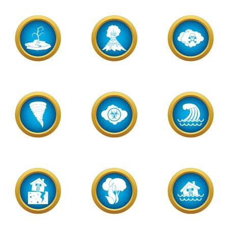 Verwoeste land pictogrammen instellen. Platte set van 9 verwoeste land vector iconen voor web geïsoleerd op een witte achtergrond Vector Illustratie
