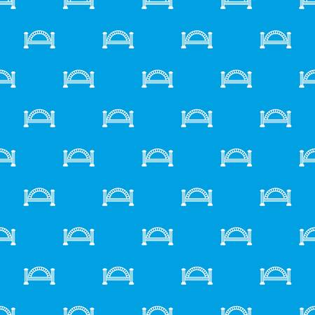 Metallic bridge pattern vector seamless blue repeat for any use