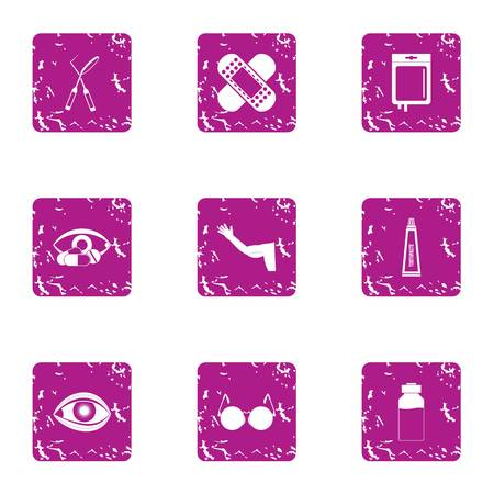 Bandage icons set, grunge style Stock Illustratie