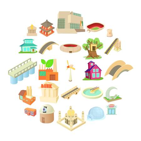 Structured icons set, cartoon style