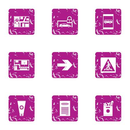 Pave the way icons set. Grunge set of 9 pave the way vector icons for web isolated on white background
