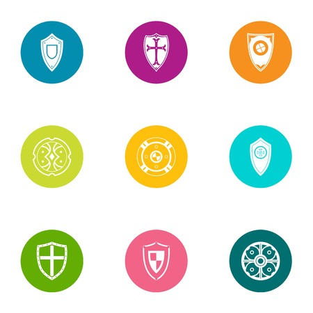Growth shield icons set. Flat set of 9 growth shield vector icons for web isolated on white background