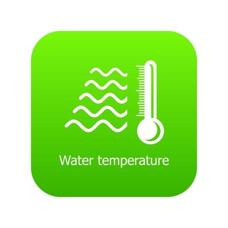 Water temperature icon green vector Illustration