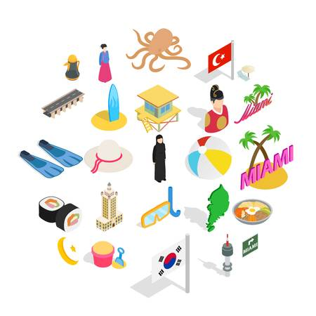 Hostelry icons set. Isometric set of 25 hostelry vector icons for web isolated on white background