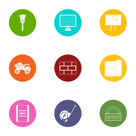 Construction object icons set. Flat set of 9 construction object vector icons for web isolated on white background