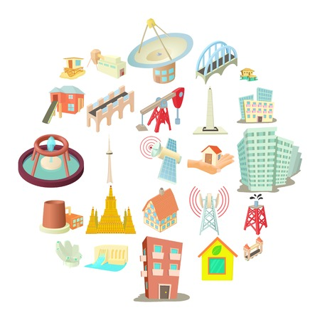 Edifice icons set, cartoon style