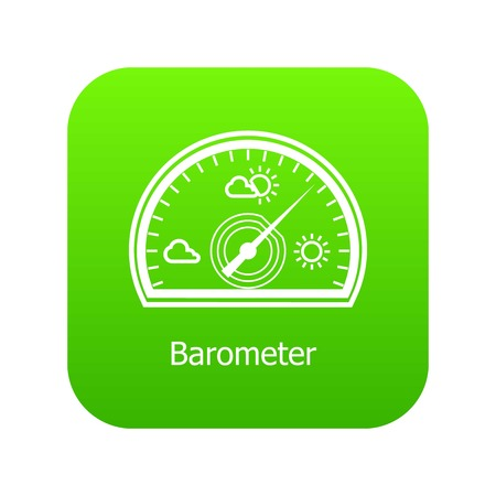 Barometer icon green vector