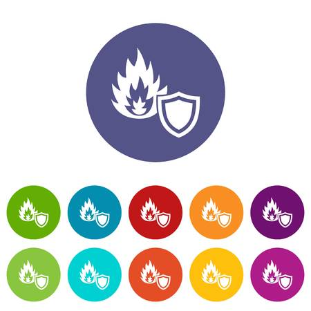 Fire protection icons color set vector for any web design on white background