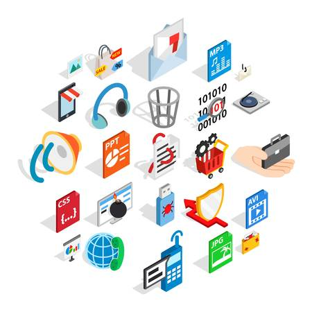 Files icons set. Isometric set of 25 files vector icons for web isolated on white background