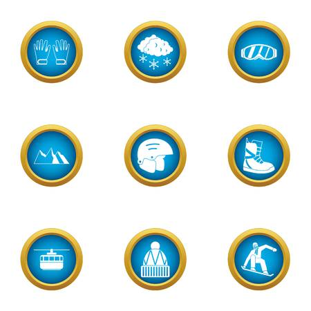 Winter helmet icons set. Flat set of 9 winter helmet vector icons for web isolated on white background