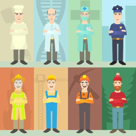 Professions mans concept set. Cartoon illustration of professions mans concept for web 版權商用圖片