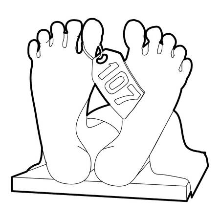 Dead body icon. Outline illustration of dead body icon for web Stock Photo