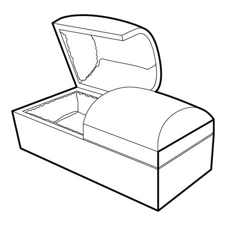 Opened coffin icon. Outline illustration of opened coffin icon for web