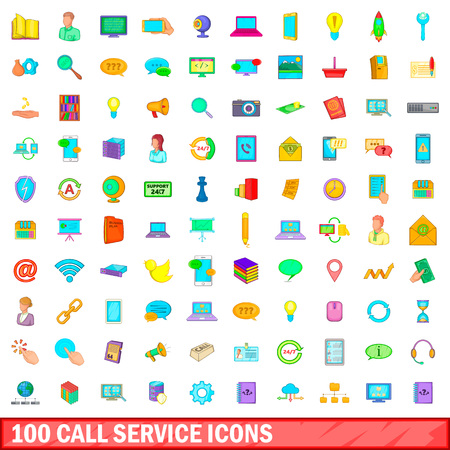 100 call service icons set in cartoon style for any design illustration