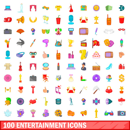 100 entertainment icons set in cartoon style for any design illustration