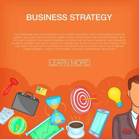 Business strategy concept set. Cartoon illustration of business strategy concept for web