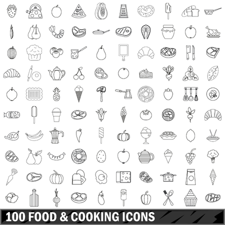 100 food and cooking icons set in outline style for any design illustration