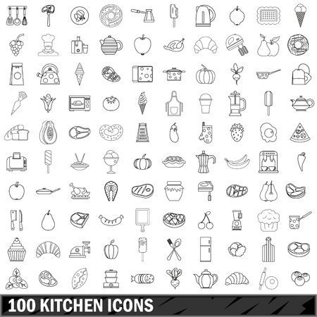 100 kitchen icons set in outline style for any design illustration Stok Fotoğraf