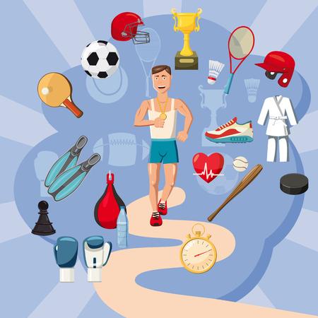Sportsman items concept set. Cartoon illustration of sportsman items concept for web