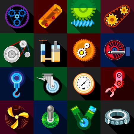Technical mechanisms icons set. Flat illustration of 16 technical mechanisms icons for web